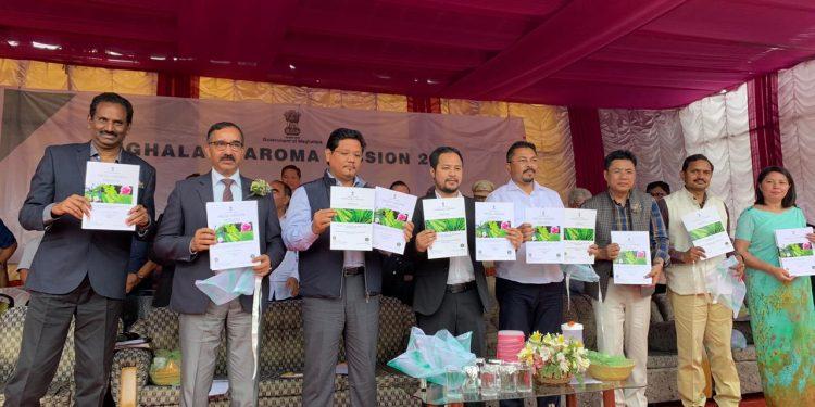 Meghalaya CM Conrad K Sangma launches Aroma Mission at Byrwa in Ri-Bhoi district on Monday.