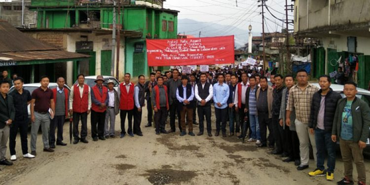 Members of Chakhesang Students Union and others during the protest rally in Phek town on Monday. Image: Northeast Now