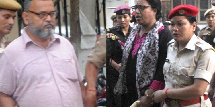 Pro-talk ULFA leader Pranamoy Rajguru and actor Jahnabi Saikia at CJM's court premises in Guwahati on Friday. Image credit: UB Photos