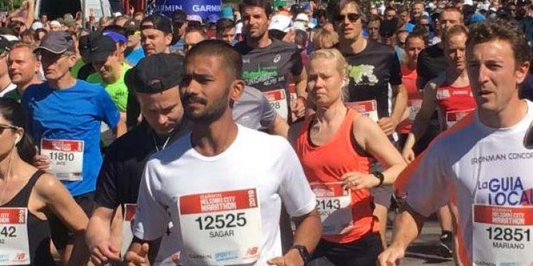 Sagar in marathon race