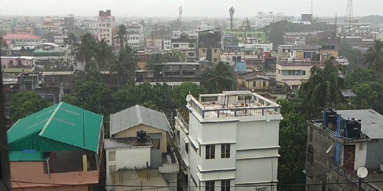Rain lashes Agartala town on Friday.