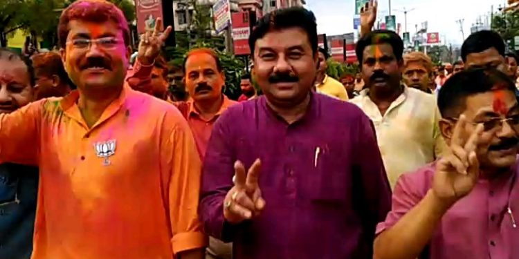 State BJP President Ranjit Das in Silchar taking part in a vijay rally on Friday