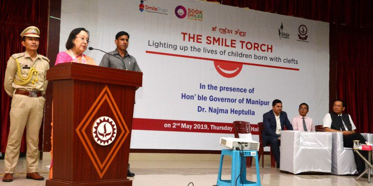 manipur governor dr najma heptulla speaking at The Smile Torch event in Imphal on thursday