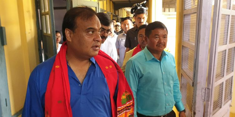 Minister Himanta Biswa Sarma during his visit to Diphu Civil Hospital on Friday. Image: Northeast Now