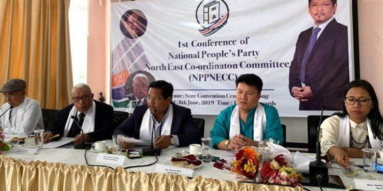 Meghalaya CM Conrad Sangma along with former CM DD Lapang, MP Agatha Sangma and others at the NECC meeting in Shillong on Saturday.  Image credit: UB Photos