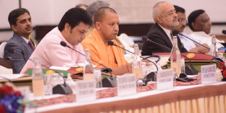 Tripura CM Biplab Deb at the screening committee meeting in New Delhi on Saturday.