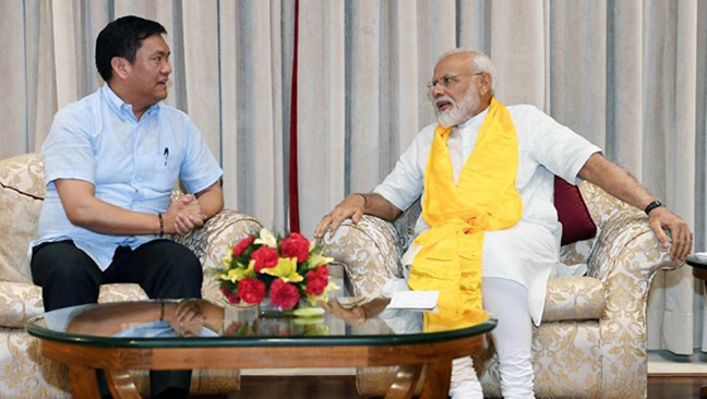 Arunachal chief minister Pema Khandu with Prime Minister Narendra Modi. Image credit - Northeast Now