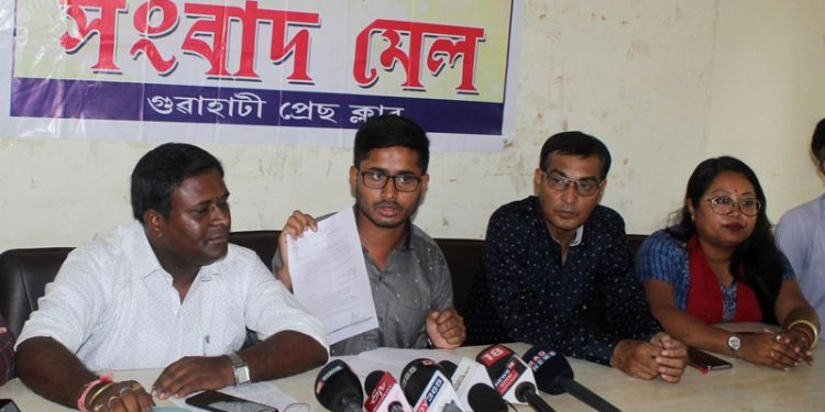 TET qualified teachers addressing a press conference in Guwahati on Sunday. Image credit:  UB photos
