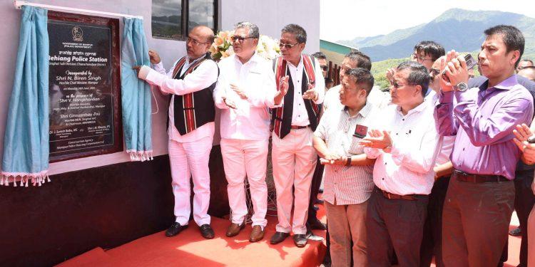 Manipur CM N Biren Singh inaugurating the police station in Churachandpur on Monday.