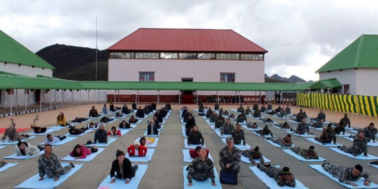 70 personnel of Chinese Army and 30 civilians participated in joint Yoga sessions.