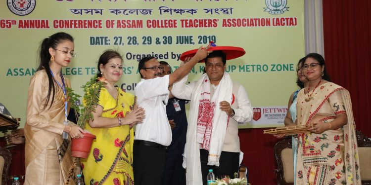 Assam CM Sarbananda Sonowal at the 65th Annual Conference of Assam College Teachers' Association at B. Borooah College in Guwahati on Sunday.