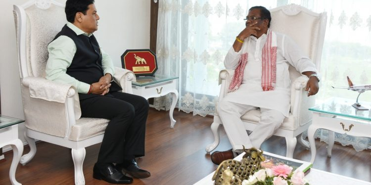 Assam CM Sarbananda Sonowal  with Union minister of state for steel Faggan Singh Kulaste in Guwahati on Saturday.