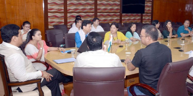 Assam CM Sarbananda Sonowal in a meeting with the members of the state film industry in Guwahati on Sunday.