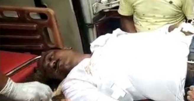 Police constable Najrul Islam being treated at GMCH.