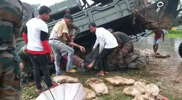Two jawans army were killed and three others injured in the road mishap at Rangapara.