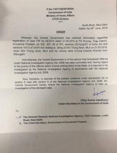 MHA orders NIA probe into Arunachal legislator Tirong Aboh killing 1