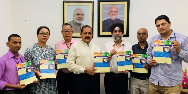 DoNER minister Jitendra Singh  releases the third issue of Newsletter of the NEC Shillong in New Delhi on Tuesday.