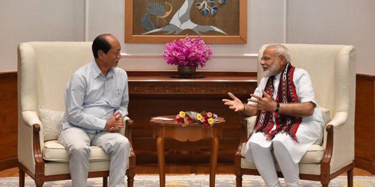 Neiphiu Rio with Modi