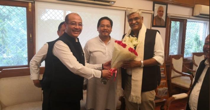 Meghalaya CM Conrad K Sangma with Union Jal Shakti minister Gajendra Singh Shekhawat in New Delhi on Monday. Image credit: Twitter