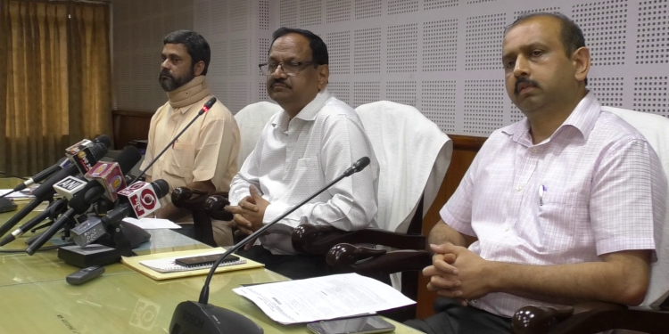 State election commissioner GK Rao (center) addresses a press conference in Agartala on Wednesday.