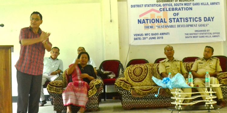 SWGH ADC S C Laloo addresses the gathering during National Statistics Day celebration at Ampati on June 29
