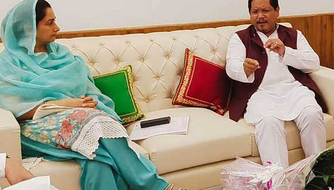 Union minister Harsimrat Kaur Badal with Meghalaya CM K Conrad Sangma in New Delhi on Sunday. Image credit:  Tribune