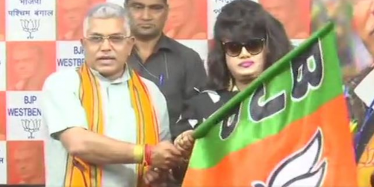 Popular Bangladesh actor Anju Ghosh joins the saffron party on Wednesday in presence of the party's West Bengal chief Dilip Ghosh in Kolkata