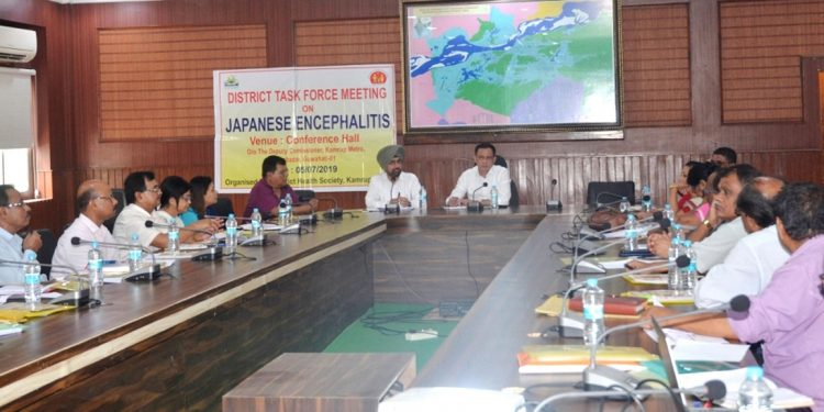 Deputy commissioner of Kamrup (Metro) Biswajit Pegu addressing the District Task Force Meeting on Japanese Encephalitis at DC Conference hall in Guwahati on July 6, 2029. Image by UB Photos