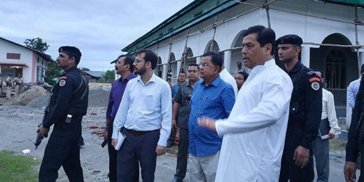 Assam chief minister Sarbananda Sonowal taking stock of progress of construction works of an auditorium at Sri Sri Auniati Sakha Satra, Kacharibari in Dibrugarh on July 7, 2019. Image by UB Photos