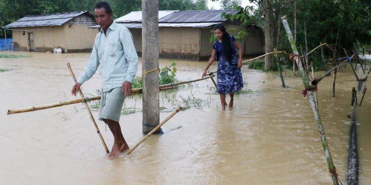 A flood-affected village in Jorhat. Image credit - UB Photos