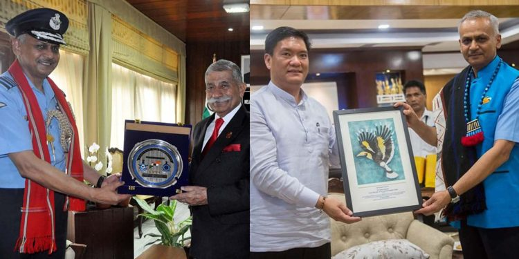 Air Marshal R.D. Mathur calling on Arunachal governor B.D. Mishra and chief minister Pema Khandu. Image credit - Twitter