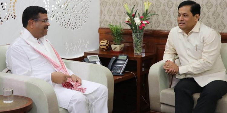 Assam chief minister Sarbananda Sonowal during an interaction with union minister of petroleum and natural gas Dharmendra Pradhan in New Delhi on Thursday.