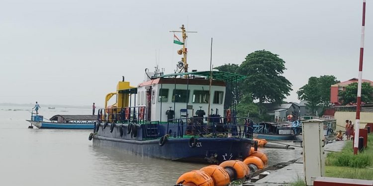 MV AAI (WB-1668) loaded with crushed stones started its journey from the Dhubri River Port for Narayanganj of Bangladesh on Friday. Image credit - Northeast Now