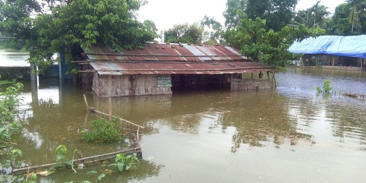 A flood-hit area in Narayanpur.
