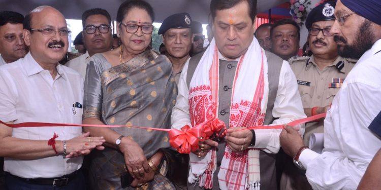 Assam chief minister Sarbananda Sonowal inaugurating newly-constructed Azara Police Station.