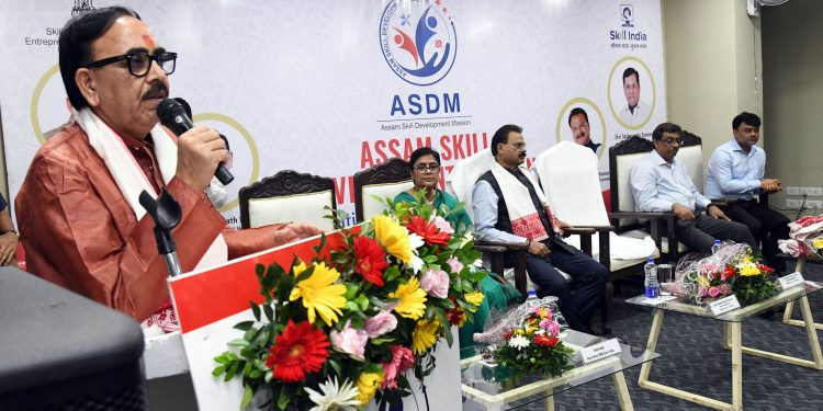 Dr Mahendra Nath Pandey, Union Minister of Ministry of Skill Development and Entrepreneurship addressing a programme on skill development organized by ASDM, Government of Assam in Guwahati on July 28, 2019. Image by UB Photos