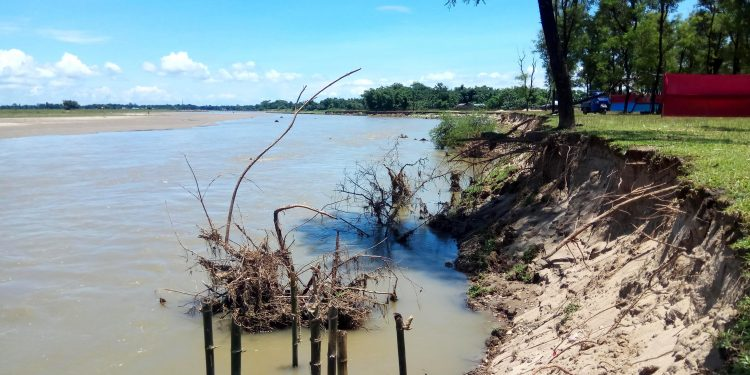 Massive of erosion at Lalpani Bogie River in Dhakuakhana as on July 29, 2019. Image by UB Photos