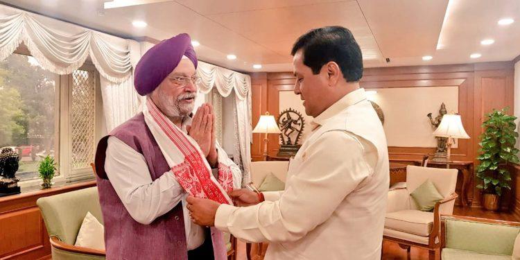 Assam chief minister Sarbananda Sonowal meets union civil aviation minister Hardeep Singh Puri in New delhi.