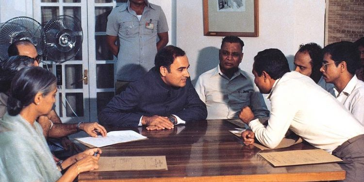 Signing of the Assam Accord. (File image)