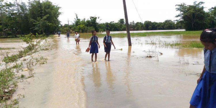A flood-hit Jorhat. Image credit - Northeast Now