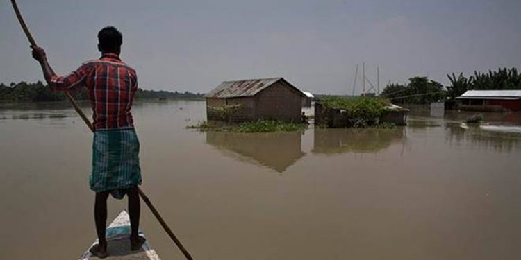 A flood-hit area in Assam.