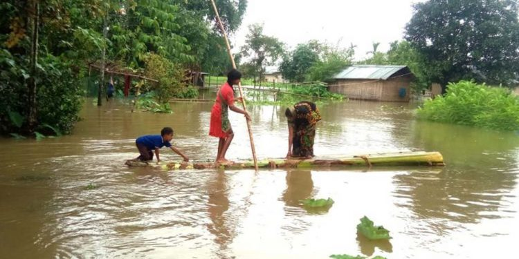 A view of flood situation in Lakhimpur. Image credit - Northeast Now
