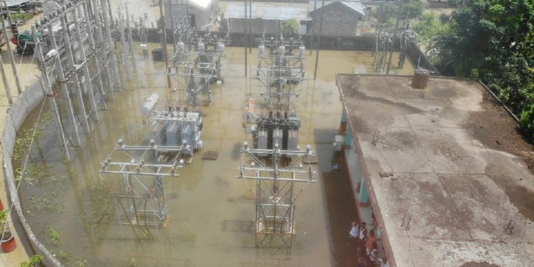 Industry sub-station which remained submerged for a week in Mangladai. Image: Northeast Now