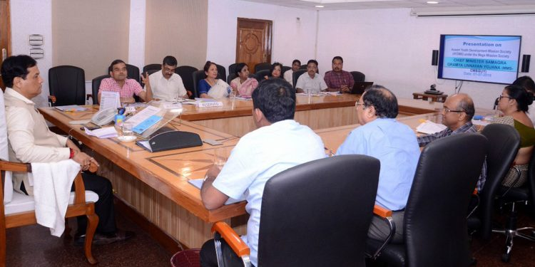 Assam chief minister Sonowal reviewing the functioning of Assam Youth Development Mission Society under Mega Mission Chief Minister's Samagra Gramya Unnayan Yojna (CMSGUY). Image credit - Twitter