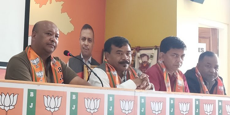 Meghalaya BJP leader Ernest Mawrie speaking to reporters in Shillong on Tuesday.