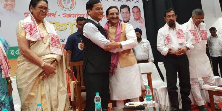 Assam CM Sarbananda Sonowal and Union human resource development minister Ramesh Pokhrial kick start the membership drive in Guwahati on Saturday.
