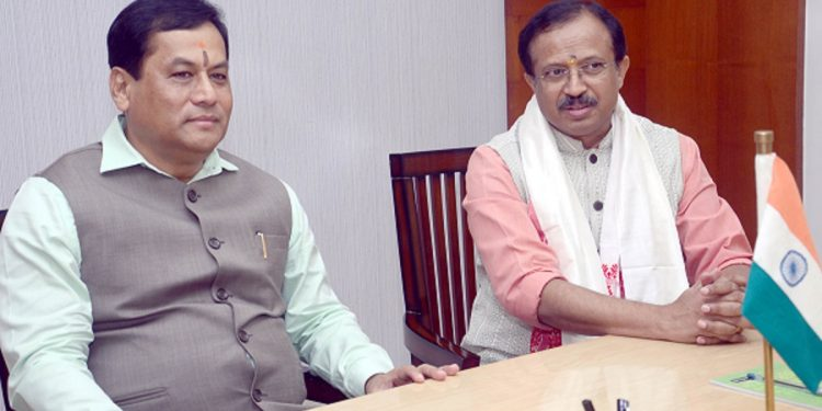 Assam chief minister Sarbananda Sonowal with minister of state for external affairs V Muraleedharan in Guwahati on July 28, 2019. Handout image