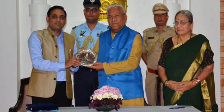 Commissioner and secretary to Governor, Dinesh Kumar, presenting a memento to Nagaland Governor P B Acharya on his farewell programme at Raj Bhavan, Kohima on July 24, 2019. Handout image