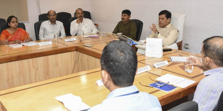 Assam chief minister Sarbananda Sonowal during a meeting with officials of revenue and disaster management department in presence of MoS for revenue & disaster management Bhabesh Kalita at his conference room in Janata Bhawan on Friday.