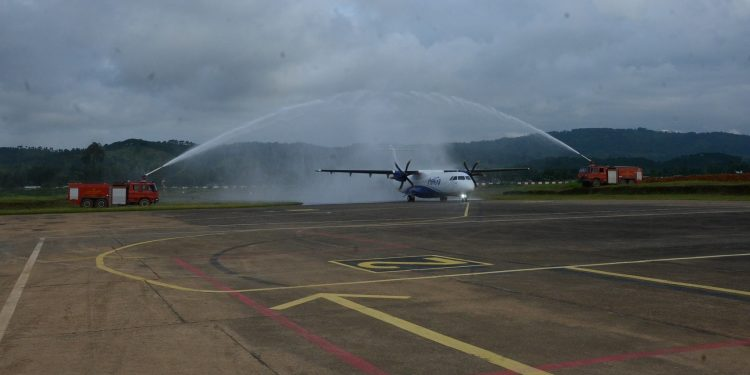 Indigo began its flight operations from Umroi airport with a 70-seater aircraft landed at the airport on Saturday.